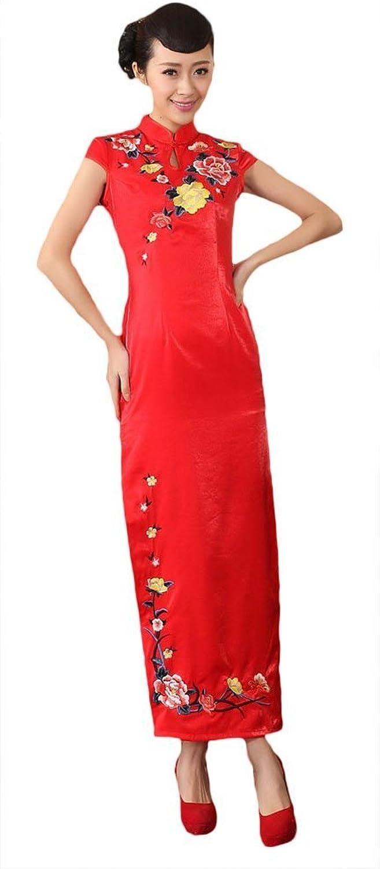 CK sky Women's Silk Satin Long Cheongsam Vintage Qipao Dress