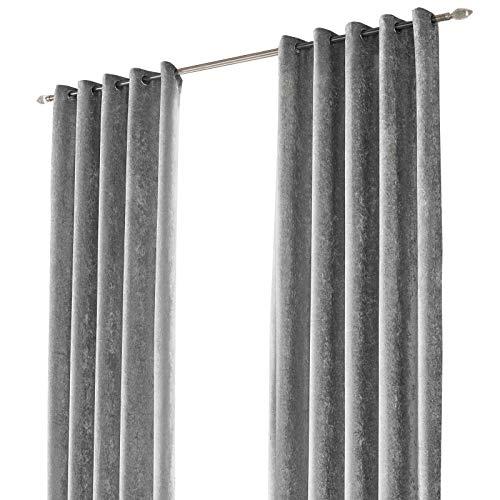 Par de Cortinas Sienna de Terciopelo aplastado con Ojales, poliéster, Plateado, 117 x 228,6 cm