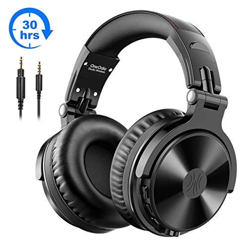Bluetooth Kopfhörer Over Ear OneOdio Geschlossene Studio Kopfhörer Kabellos mit 30 Stunden Spielzeit Wireless Kopfhörer On Ear Headphones mit CVC 8,0 Mikrofon für Smartphone PC (Schwarz)