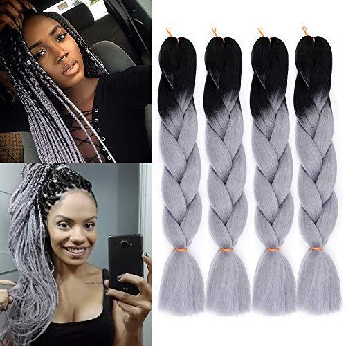 Kanekalon Braiding Hair Ombre Grey Jumbo Braiding Hair Two Tone Synthetic Heat Resistant Hair Extensions 4Pcs/Lot 24 inch (Black-Grey)
