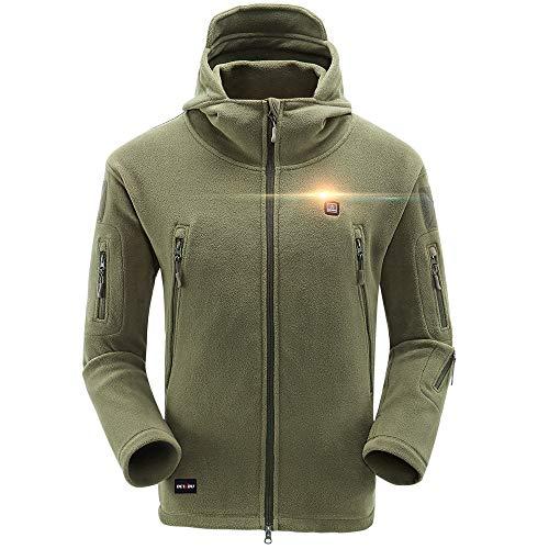 DEWBU DB-517 Fleecejack, verwarmbare jas met capuchon, ritssluiting, hoodie met accu 5 V en oplader voor outdoor, motorsport, fietsen, fietsen, fietsen, dagelijks dragen