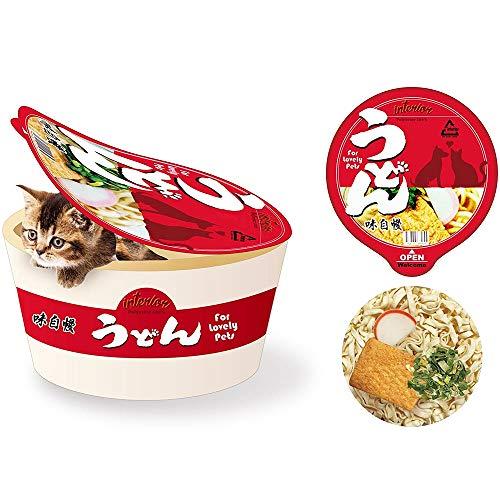 Wuke Tree Deluxe Cama para mascotas para gatos y perros pequeños y medianos, taza de fideos Udon Pet House con tapa/almohada para mascotas, poliéster, desmontable y lavable, 50 x 25 cm