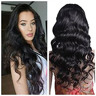 Mike & Mary Lace Front Human Hair Wigs for Black Women Body Wave Top 7A Virgin Brazilian Hair Wigs Free Part with Baby Hair (16inch, 1b Off Black)