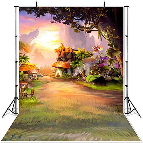 Primavera Paisaje telón de Fondo país de Las Maravillas pastizales Cuento de Hadas Bosque niños recién Nacidos Setas Elfos Flores Photocall Banner A4 10x10ft / 3x3m