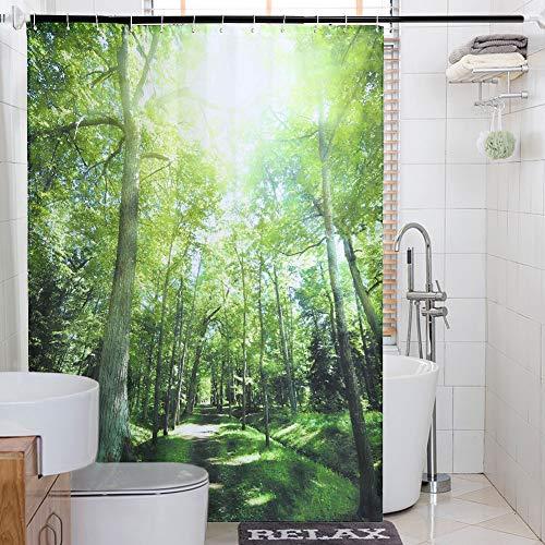 Topmail  Duschvorhang Dschungel Wald aus Polyester mit 12 Haken  für Badezimmer wasserdicht  Anti-Schimmel Waschbare badvorhang (Wald 180 x 200 cm)