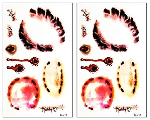Mini Tattoos 2 Sheets Wound Vampire bite Gun Shot Cartoon Stickers Tattoo Temporary Waterproof Design Make up Body Art Tattoos Fake for Man Women Teens (05)