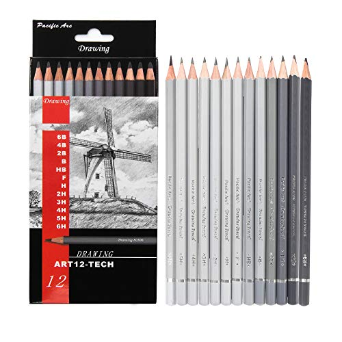 of drawing pencils for artists Pacific Arc Premium Graphite Drawing Pencils for Artists, Tech Pack - Professional Pencils for Drawing, Drafting, Sketching and Shading 12 Pk. - Great Non Toxic Art Supplies Set for Adults and Kids