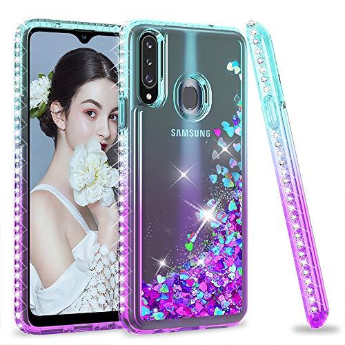 LeYi per Cover Samsung Galaxy A20s con Vetro Temperato[2 Pack],Brillantini Diamond Glitter Sabbie Mobili Custodia 3D Rigida Silicone Bumper per Custodie Samsung Galaxy A20s Violet Blu Gradient