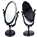 Luwu-Store Desktop Rotatable Gothic Style Rose Makeup Stand Mirror Black Butterfly Black