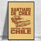WSHIYI Santiago de Chile-Car 2 Impresiones en Lienzo Pintura en Lienzo Póster Sala Familiar Moderna Decoración de Sala de Estar 50x70cm (20x28 Pulgadas) Sin Marco