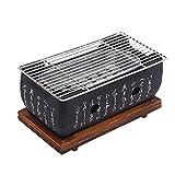 Barbacoa Estilo Japonés, Horno Portátil Carbón Japonés con Rejilla Alambre Y Base, Mini Parrilla Carbón, Herramientas Barbacoa para Hogar, para Cocinar Al Aire Libre,Negro,L