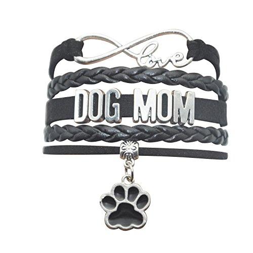 HHHbeauty Dog Mom Paw Bracelet Jewelry - Pet Dog Memorial Paw Charm Bracelet for Women,Men,Girls,Boys,Dog Lovers Including Fantastics Infinity Love Charm, Paw Print Charm, Dog Charm (Black)