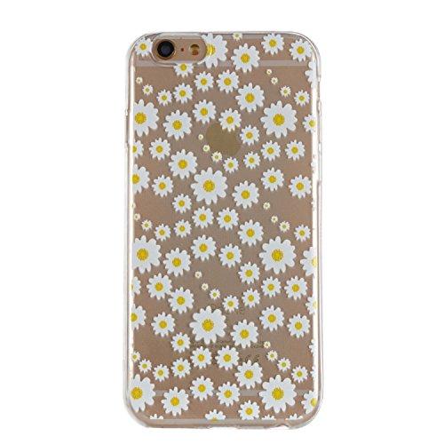 pinlu Custodia per iPhone 6 6S (4.7 Pollice) Trasparente Ultra Slim Protettiva Case in TPU Silicone Anti Scivolo Flessibile Back Cover Disegno Margherita Modello