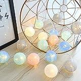 Guirlande Lumineuse d'intérieur avec 20 boules en coton fonctionnant sur piles - 3,5 m Lampes d'ambiance LED Globe Light De Coton Guirlande Lumineuse FêTe De NoëL LumièRes (4 cm batterie multicolore)