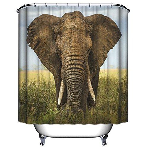 Imperméable Rideau de Douche, Chickwin Imprimé Numérique Anti-moisissure 100% Polyester en Tissu Résistant à l'eau Rideau de Douche Accessoires de Salle de Bain 180 x 180 cm (Vicissitudes de l'éléphant)