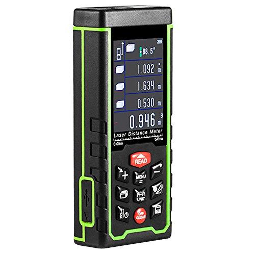 Medidor Láser de Distancia, GRDE Telémetro Láser 0 - 50M, Medidor de Metros con Unidades de Medición Ajustables entre M / In / Ft, Distanciómetro Láser con Baterías AAA Incluídas