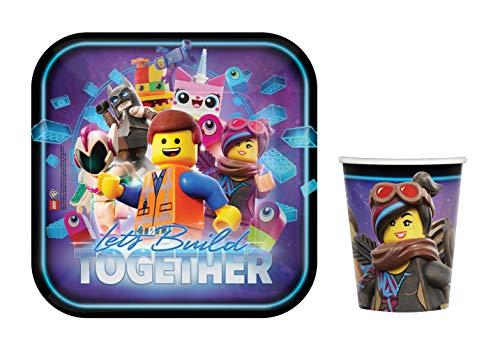NEU Juego de vajilla de fiesta de The Lego Movie 2, la película Lego para cumpleaños infantil, platos, vasos (16 personas)