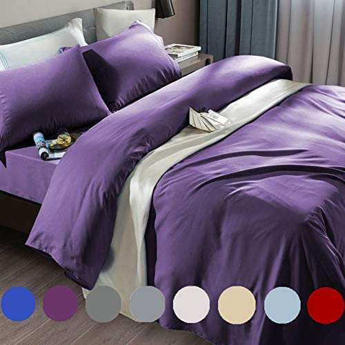 SONORO KATE Bed Sheet Set Super Soft Microfiber 1800 Thread Count Luxury Egyptian Sheets Fit 18-24 Inch Deep Pocket Mattress Wrinkle and Hypoallergenic-6 Piece (Purple, King)