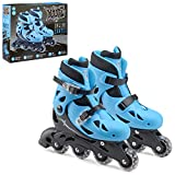 Xootz Kids Inline Skates, Adjustable Beginner Roller Blade Boots, Boys, Blue/Black, M