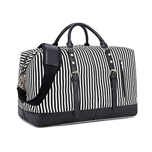 CAMTOP Weekend Travel Bag Ladies Women Duffle Tote Bags PU Leather Trim Canvas Overnight Bag (Stripe-Black)