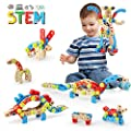 LUKAT STEM Toy for 3 4 5 6 7 Year Olds Boys, 96 PCS Wooden Building Toys for Kids, 4 in 1 Educational Kids Construction Blocks Toys, Birthday Gifts for Boy & Girl