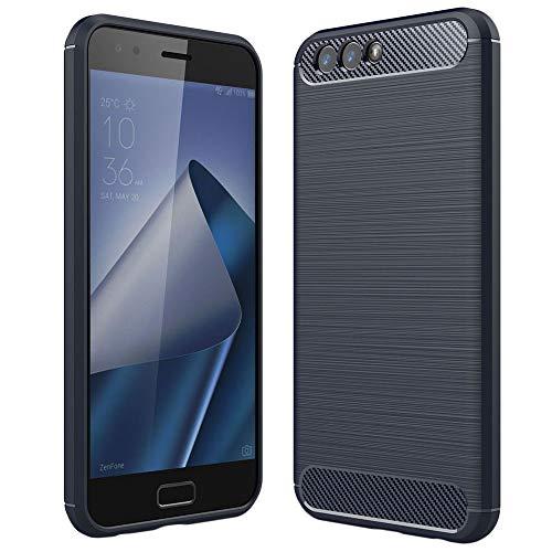 ebestStar - Cover Compatibile con ASUS Zenfone 4 ZE554KL Custodia Protezione Silicone Gel TPU Design Fibra di Carbonio Anti Scivolo, Blu Scuro [Apparecchio: 155.4 x 75.2 x 7.7mm, 5.5'']