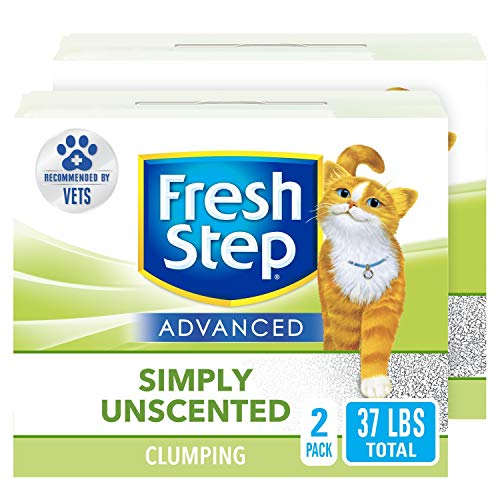 Fresh Step Advanced Simply Unscented Clumping Cat Litter, Recommended by Vets, 37 lbs Total 18.5 lb Box ( 2 Pack )