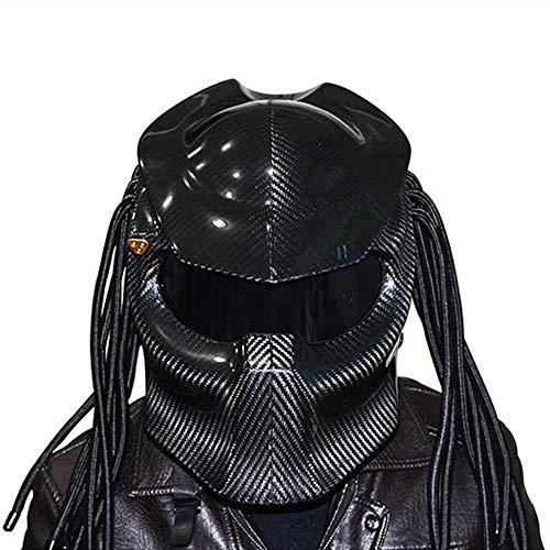 BQT Motorrad Predator Carbon Fiber Helm, Full Face Helm Anti-Fog-Objektiv Vier Saison Männer und Frauen Helm mit Licht, DOT Sicherheit,Black,XL