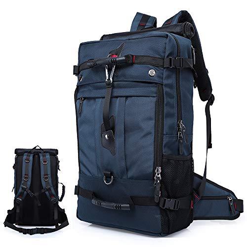 Reiserucksack, Wasserdicht und stoßfest Camping Rucksack 17 Zoll Laptop Rucksack 40L Großer Trekking Rucksack Oxford Tuch Rucksack Männer/Frauen (Blau, 50L)