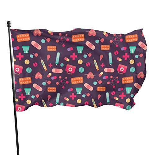PNDIJIUDA Outdoor Flag, Nursing Cross Wallpaper Decorative Flag for Garden Yard Home Party 3x5 Feet