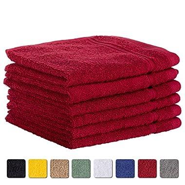 6-Piece Washcloth Towels SET Affordable Premium Quality 100% Turkish Cotton | Burgundy