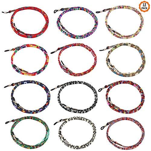 Dadabig 12 Pcs Cuerda de Gafas de Sol Cordón de Gafas Étnico Antideslizante Cadena de Anteojos Ajustable para Mujer Hombre Niño,12 Colores
