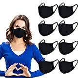 8 Pack Cotton Face Cover Washable and Reusable - Black Mouth Protection Unisex Fashion Dust Covering with Nose Bridge Wire - Soft Cloth Fabric for Women and Men Outdoor