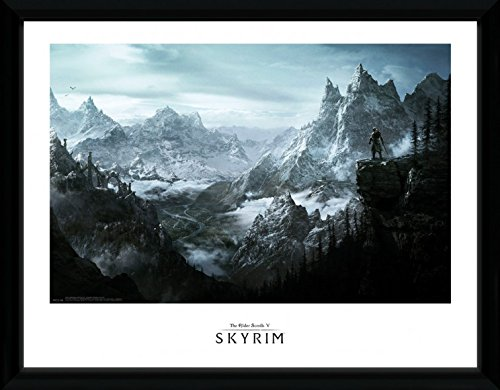 1art1 Skyrim - Vista Gerahmtes Bild Mit Edlem Passepartout | Wand-Bilder | Kunstdruck Poster Im Bilderrahmen 40 x 30 cm