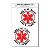 COOLHUBCAPS Medical Alert Reflective Decals by ColorSurge | for Wheelchairs, Car Bumpers & Windows | Weatherproof & UV Resistant | Indoor & Outdoor Use (Type 2 Diabetes, Small, 2 Pack)