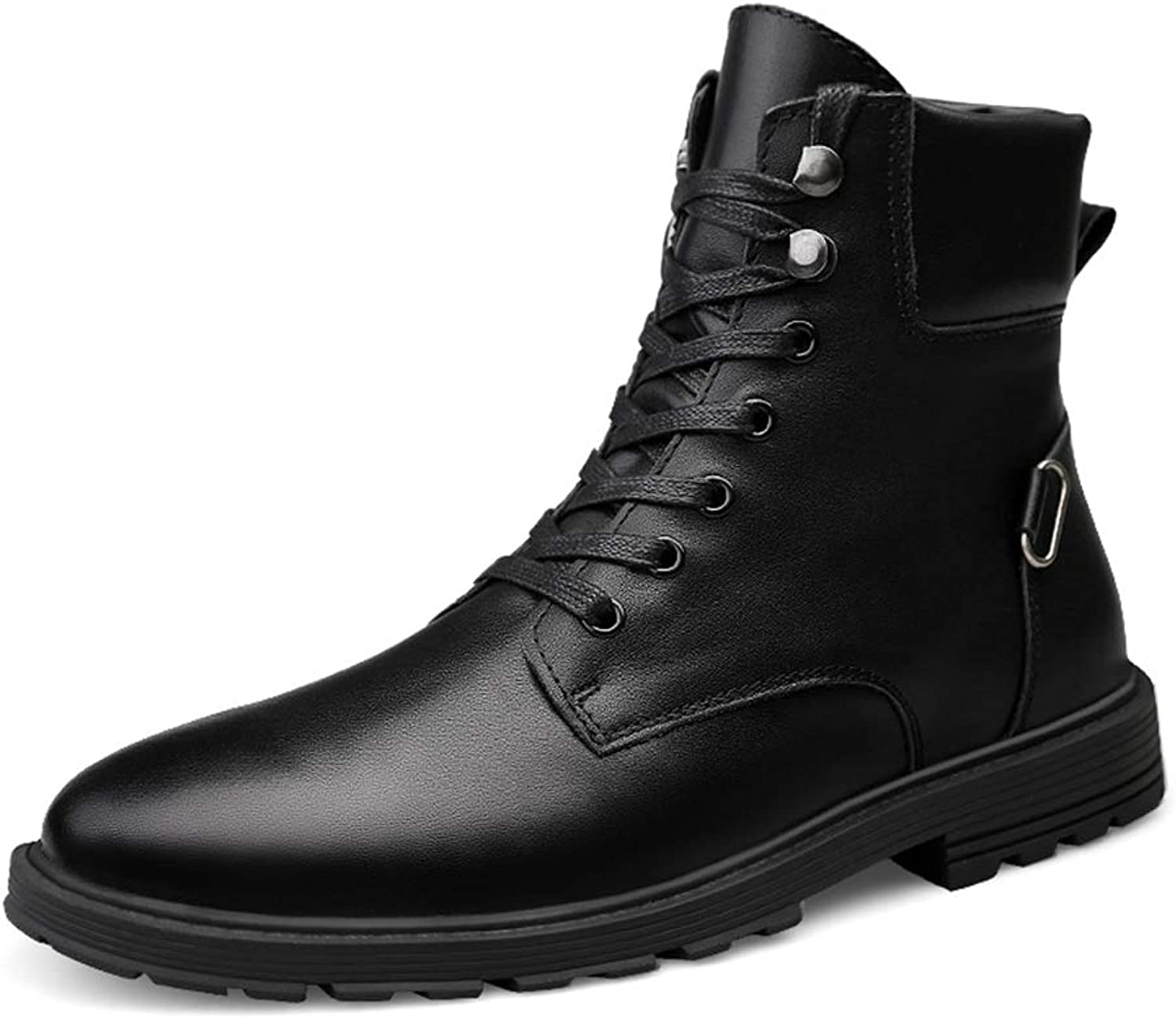 Dig dog bone Men's Ankle Boots Warm Velvet Casual British Style Simple Anti-Slip Outsole Lacing Martin Boots(Conventional Optional)