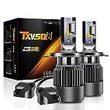 TXVSO8 Ampoule H4 H/L LED,Phare Ampoules Voiture,Ampoules Auto de Rechange pour Lampes Halogènes et Kit Xenon,10000LM 9V-32V 100W 6000K 2Pcs