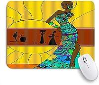 VAMIX マウスパッド 個性的 おしゃれ 柔軟 かわいい ゴム製裏面 ゲーミングマウスパッド PC ノートパソコン オフィス用 デスクマット 滑り止め 耐久性が良い おもしろいパターン (自由奔放に生きるスタイルの女性と幾何学模様のデジタルプリント)