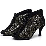 Not applicable Black Lace Mesh Women's Latin Dancing Shoes High-Heeled 7.5Cm Adjusted Width Boots Narrow AA Black Heel 6cm 6.5