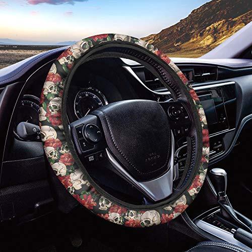 Polero mujeres interior decoración automotriz universal azúcar cráneo floral coche volante cubierta rojo transpirable antideslizante coche tela cubierta regalo