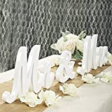 Bloobloomax 6 Inches High Wooden Mr and Mrs Sign Rustic Mr & Mrs Letters Wedding Signs,Photo Props,Party Table,Top Dinner,Rustic Wedding Decorations, White