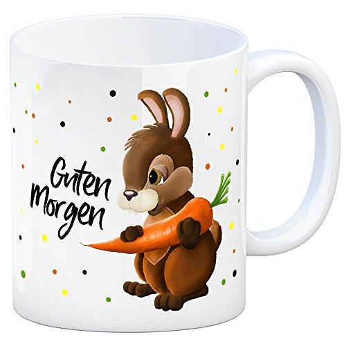 trendaffe - Kaffeebecher mit Hase Motiv und Spruch: Guten Morgen