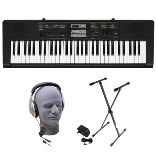Casio CTK2400 PPK 61-Key Portable Keyboard Package with Samson HP30 Headphones, Stand and Power Supply