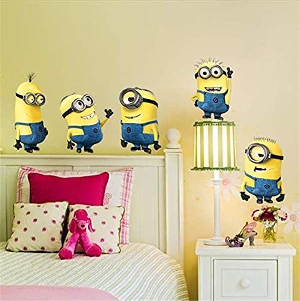 Eversohomely Minions Movie Wall Sticker For Kids Room Home Decorations DIY PVC Cartoon Decals Children Gift 3D Mural Arts Posters Wallpaper