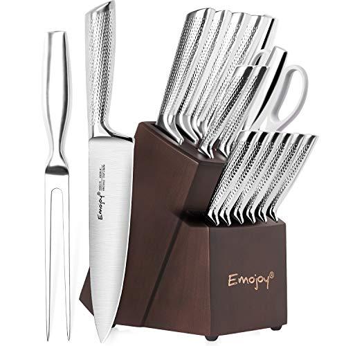Emojoy Messerblock, 16-TLG Messer Set mit Holzblock, Vollem Edelstahl Küchenmesser, Profi Messerset mit Wetzstahl, Scharf Kochmesser Set, Einteiliger Messerkörper