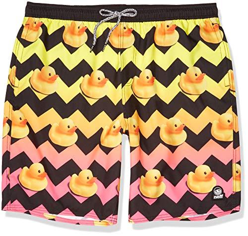 NEFF Men's Ducky Hot Tub Swim Surf Shorts, Black, L