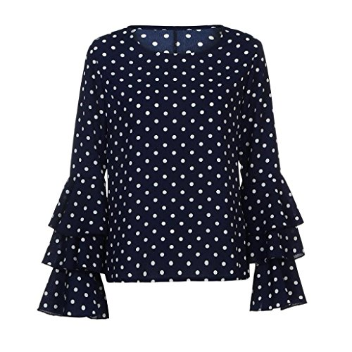 Lenfesh Casual de Mujer Solid Camisa Manga Larga Blusa Camisas con Volantes