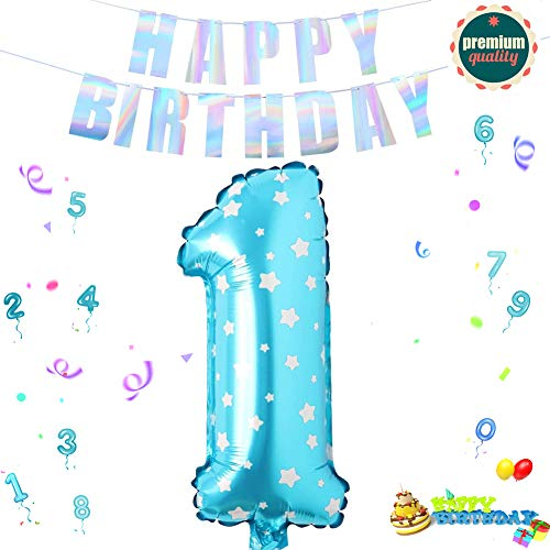 Sunshine smile Folienballon Zahl in Blaue Sterne,Luftballon Zahlen,Riesige Folienballon,Zahl Geburtstagsdeko,Geburtstag Dekoration bunt,Party Supplies Folienballon im Zahlen-Design (1)