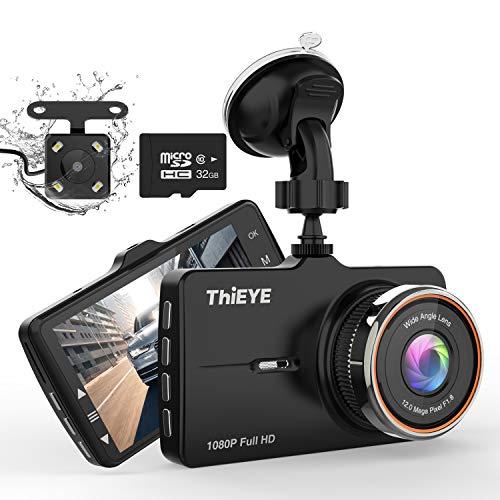 ThiEYE Dashcam Dual Auto Kamera 32G-SD-Karte Full HD Vorne 1080P Hinten 720P Full HD,170°Weitwinkelobjektiv, G-Sensor, WDR, Loop-Aufnahme, Parkmonitor Mehrweg