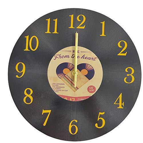 LOHAS Home Orologio da Parete Rotondo da 30 Centimetro Orologio in Legno AntiGraffio Silenzioso da CD in Stile Classico Vintage (Music Heart)